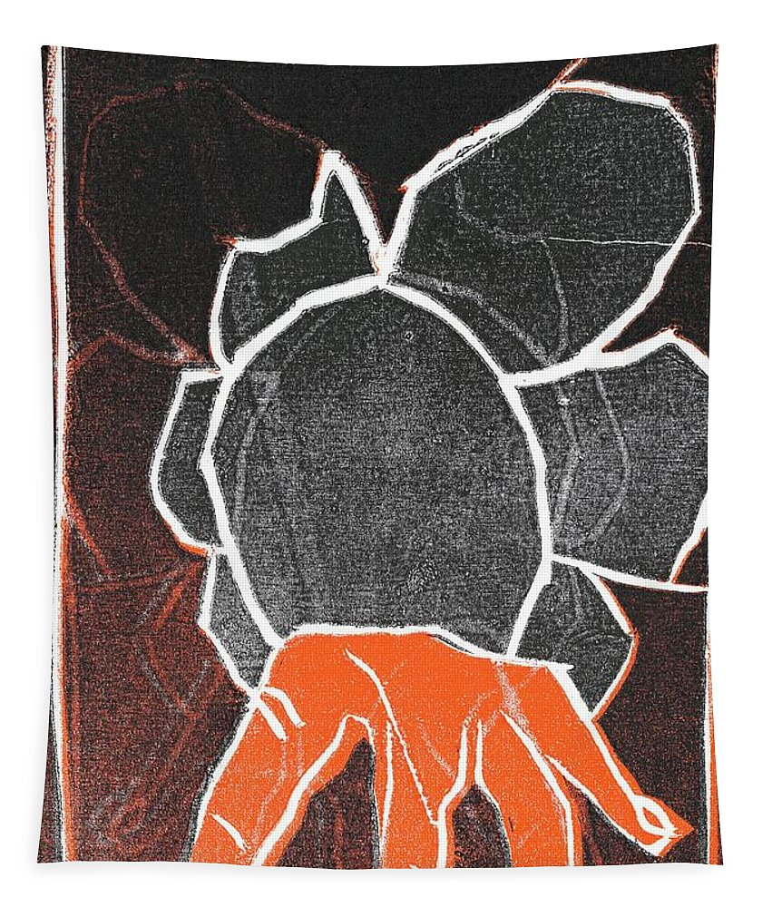 Woodcut Tapestry featuring the relief I Was Born In A Mine Woodcut 24 by Edgeworth DotBlog