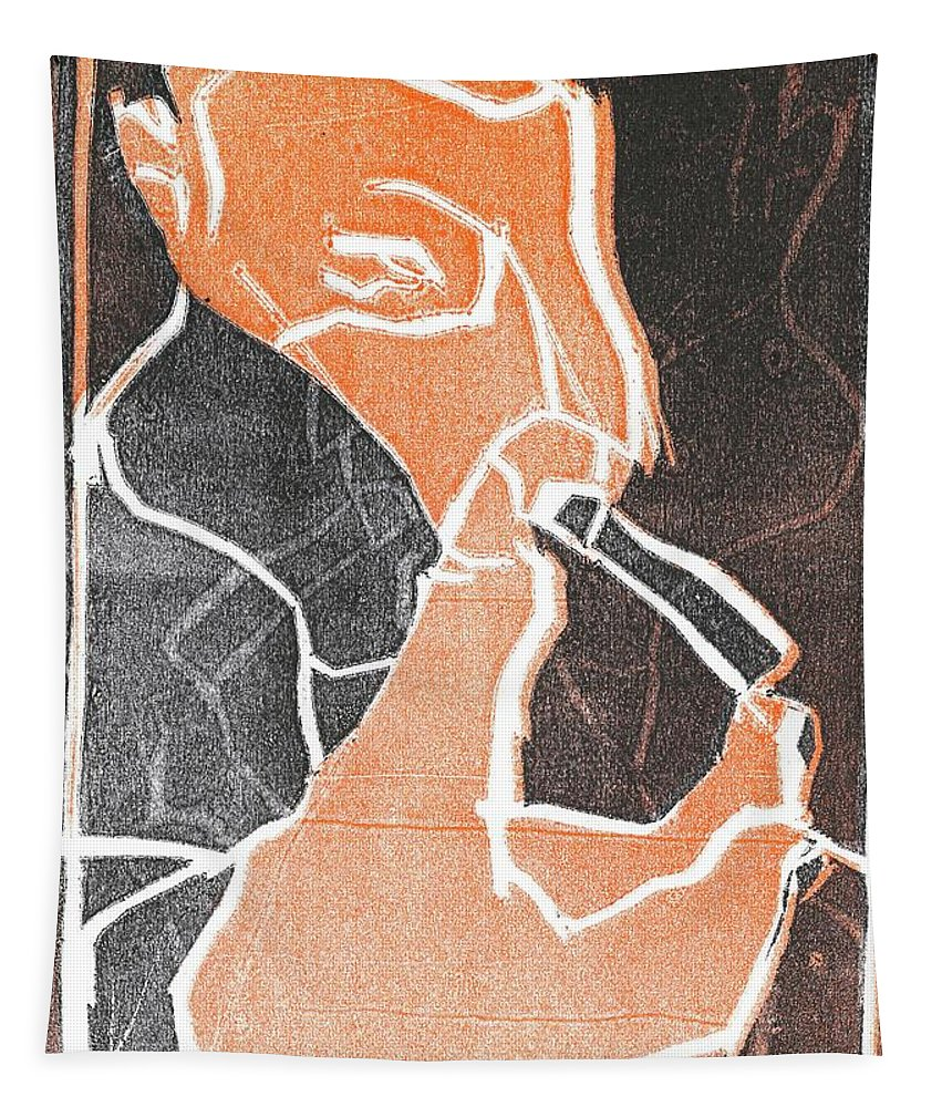 Woodcut Tapestry featuring the relief I Was Born In A Mine Woodcut 75 by Edgeworth DotBlog