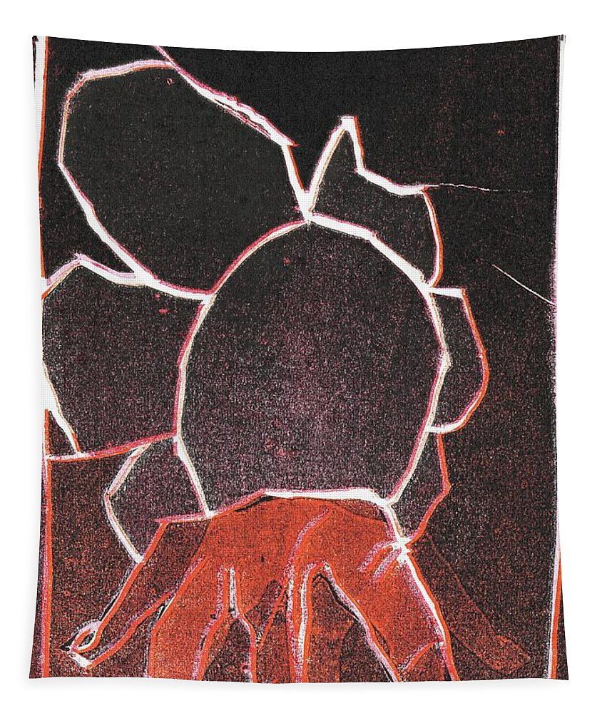 Finger Tapestry featuring the relief Image 23 I Was Born In A Mine Woodcut by Edgeworth DotBlog