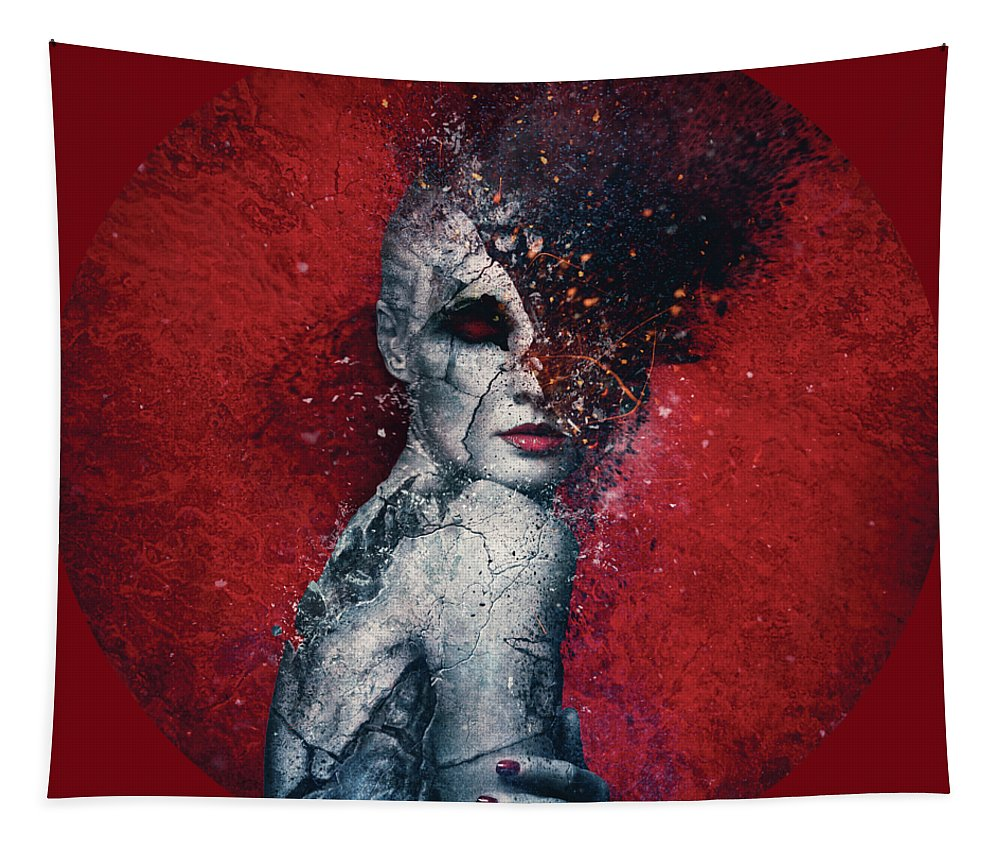 Red Tapestry featuring the digital art Indifference by Mario Sanchez Nevado