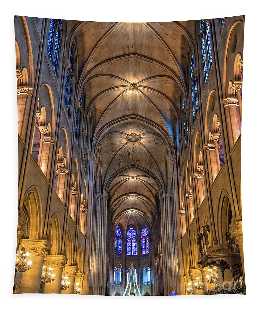 Notre Dame Tapestry featuring the photograph Interior Of Notre Dame De Paris by Delphimages Photo Creations