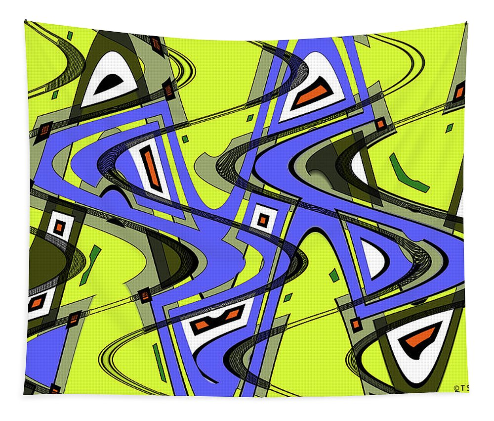 Janca Yellow And Blue Wave Abstract Tapestry featuring the digital art Janca Yellow And Blue Wave Abstract, by Tom Janca