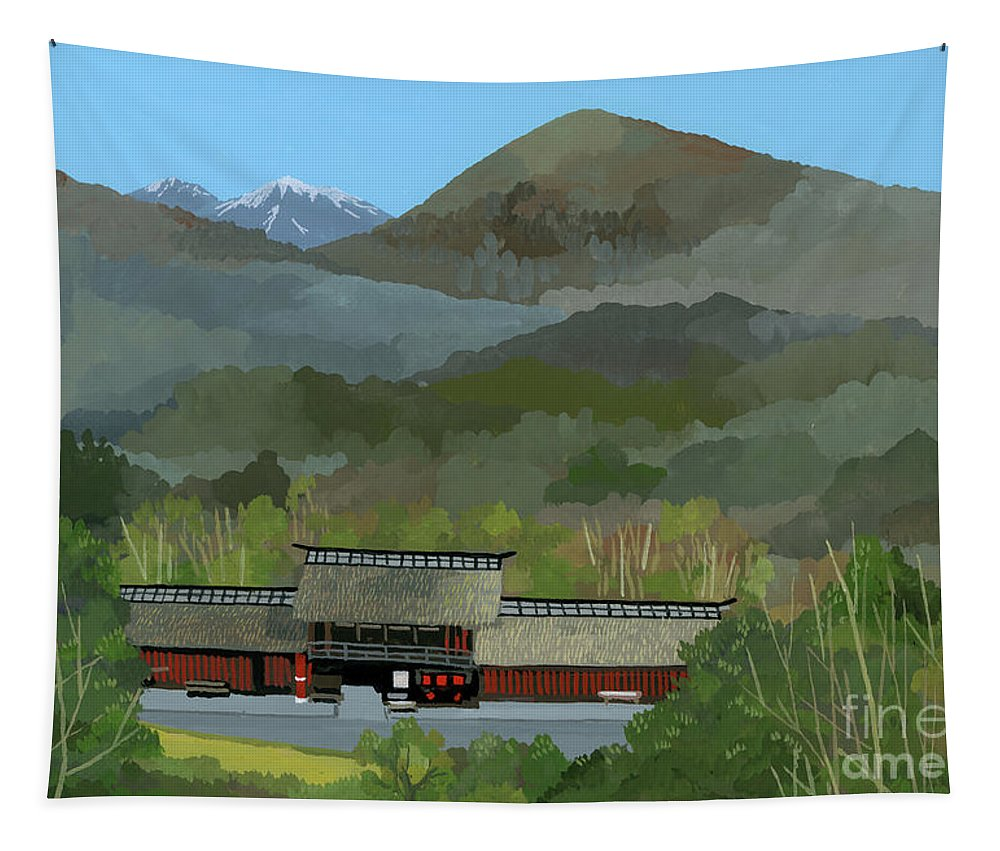 Japanese Countryside Tapestry featuring the painting Japanese Countryside by Hiroyuki Izutsu