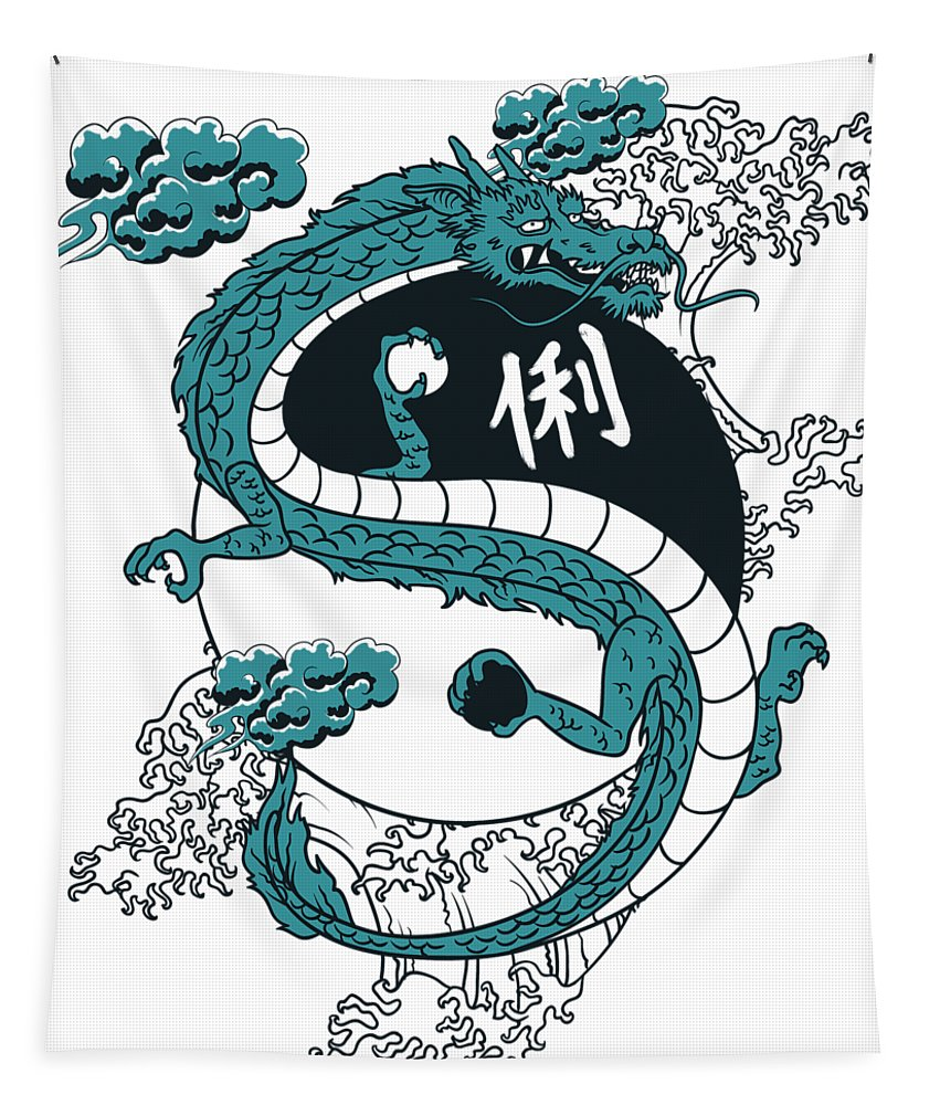 Asian Tapestry featuring the digital art Japanese Dragon Yinyang Water Waves by Passion Loft