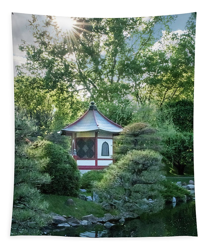 Japanese Tapestry featuring the photograph Japanese Garden #4 - Island Pagoda Vertical by Patti Deters