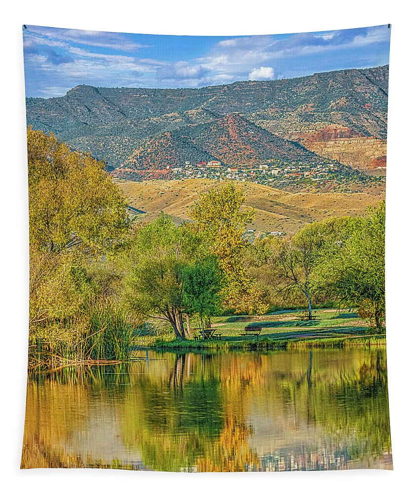 Pond Reflection Tapestry featuring the photograph Jerome Reflected In Deadhorse Ranch Pond by Priscilla Burgers