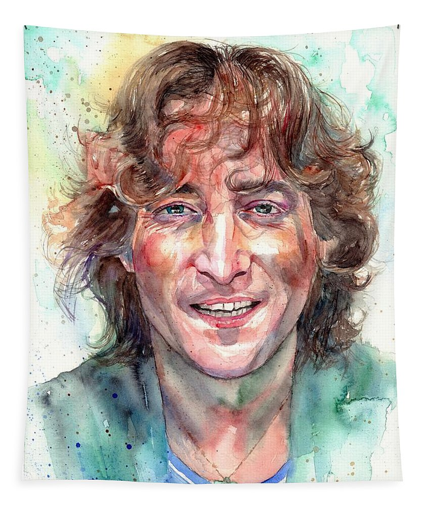 John Lennon Tapestry featuring the painting John Lennon Smiling by Suzann Sines