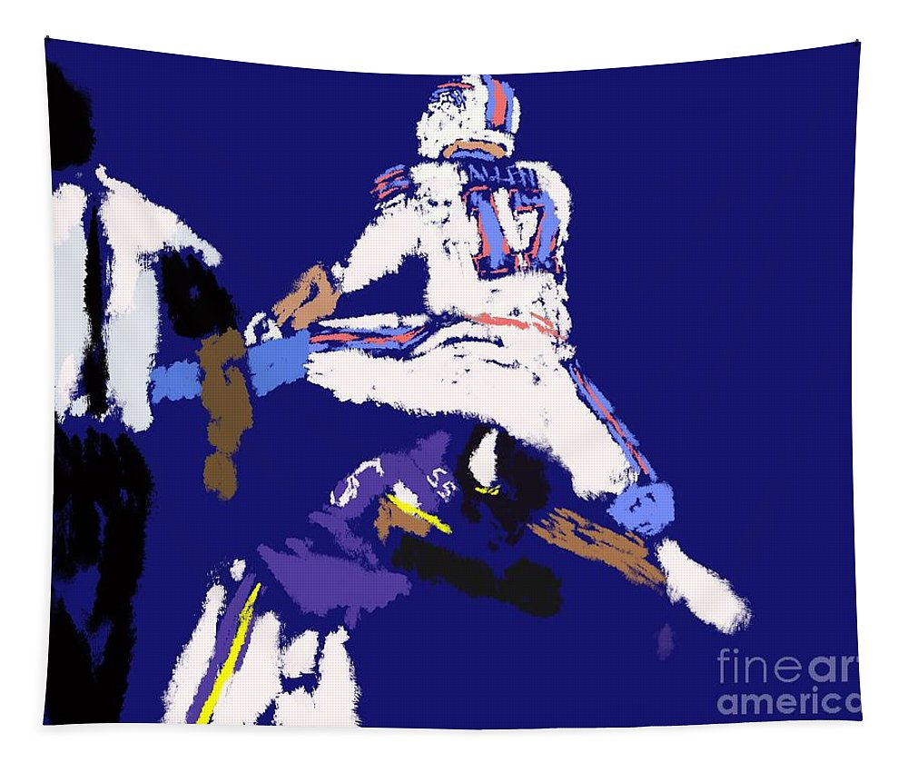Josh Alle Tapestry featuring the painting Josh Allen Hurdle by Jack Bunds