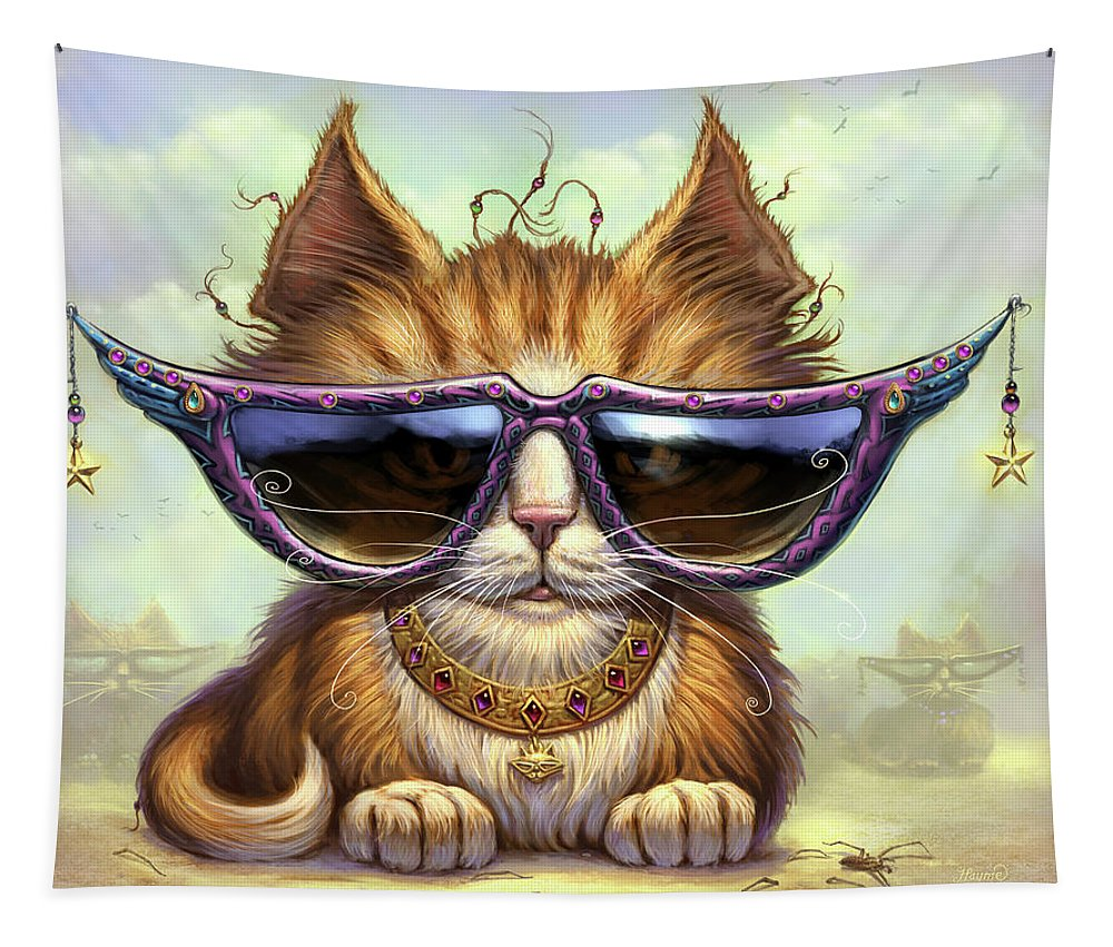 Cat Artwork. Cats Tapestry featuring the painting Just Be by Jeff Haynie