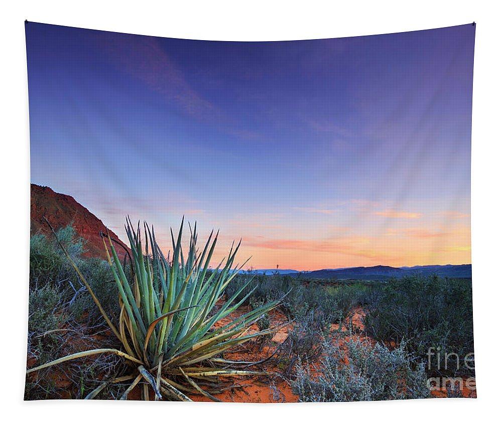 Kayenta Tapestry featuring the photograph Kayenta Sunset by Maria Jeffs