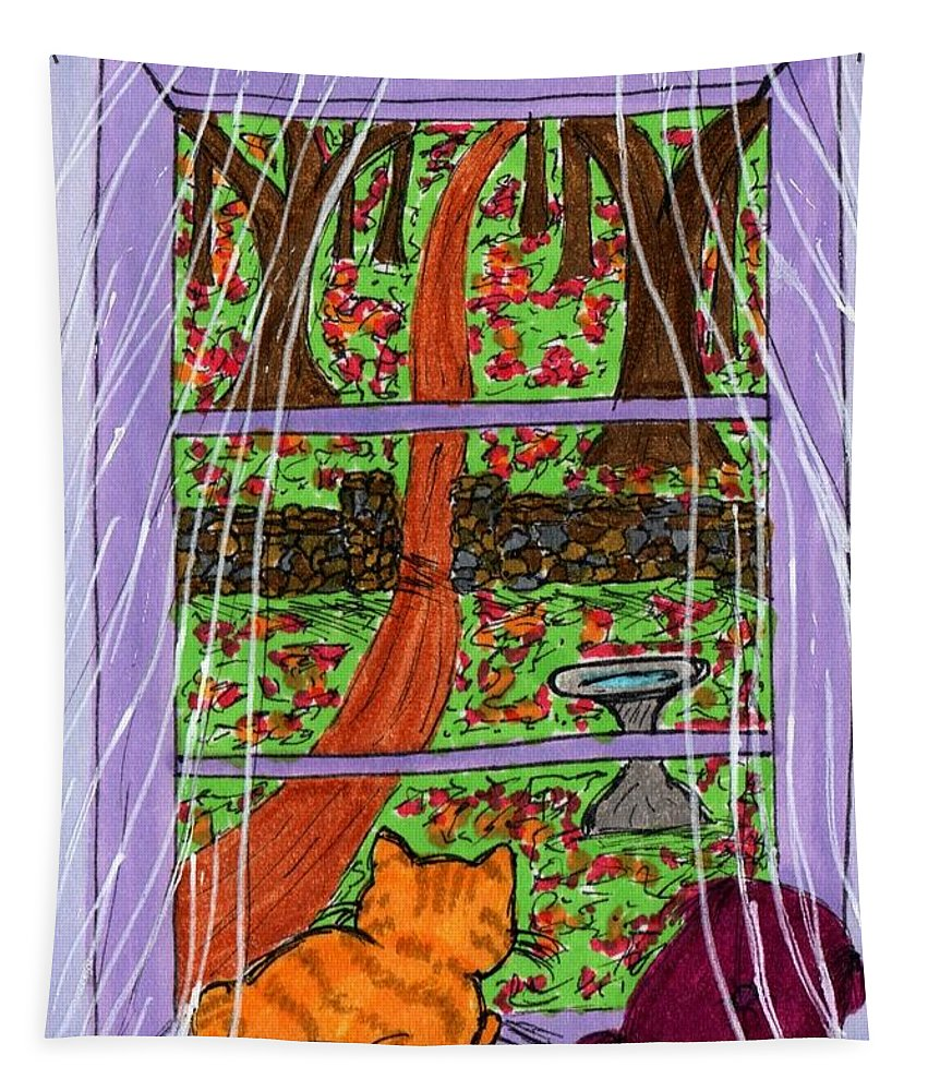 Tiger Tapestry featuring the photograph Kitty Watching Autumn by Tambra Wilcox