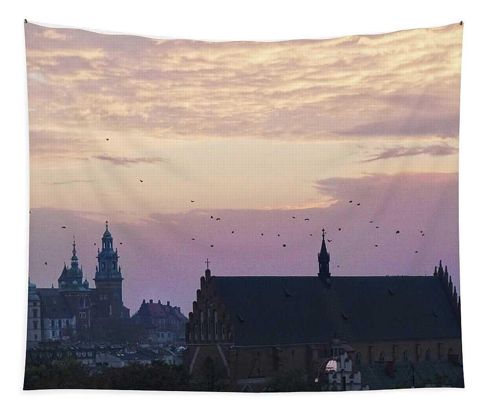 Kracow. Rooftop. See. Top. Roofth . Marypoppyns Tapestry featuring the pyrography Kracow by Alex Mur