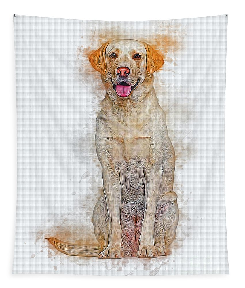 Dog Tapestry featuring the digital art Labrador Retriever by Ian Mitchell