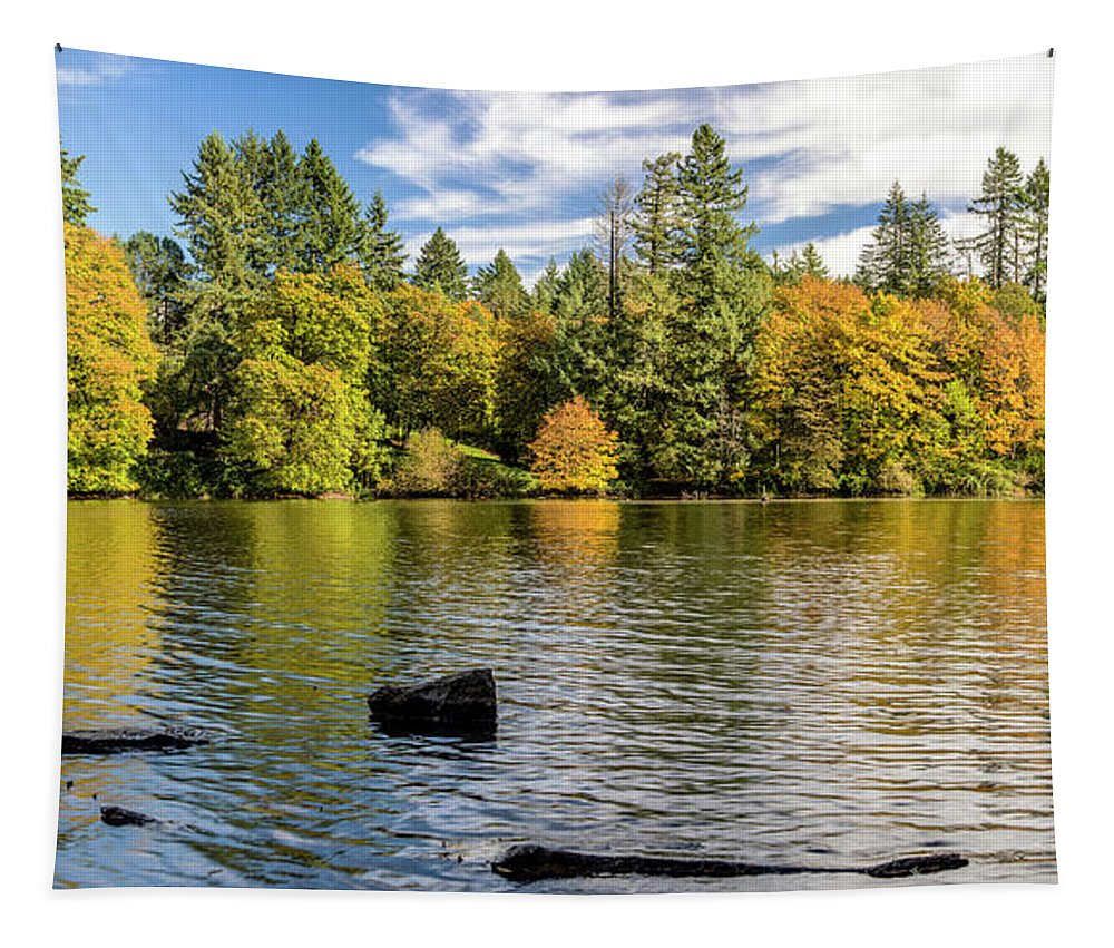 Autumn Camas Washington Lacamas Lake October Washington State Changing Season Colors Debries Environment Fall Season Forest Lake Landscape Nature Outdoors Panorama Pine Trees Place Seasonal Changes State Parks Trees Water Water Edge   Tapestry featuring the photograph Lacamas Lake Nature Panorama Camas Washington, Usa by Panoramic Images