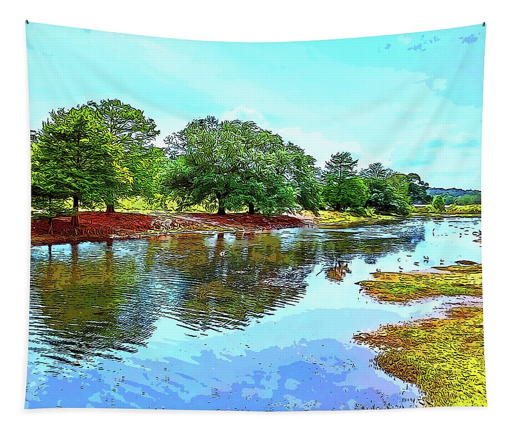 Langan Park Tapestry featuring the digital art Lake Reflections On A Sunny Day by Marian Bell