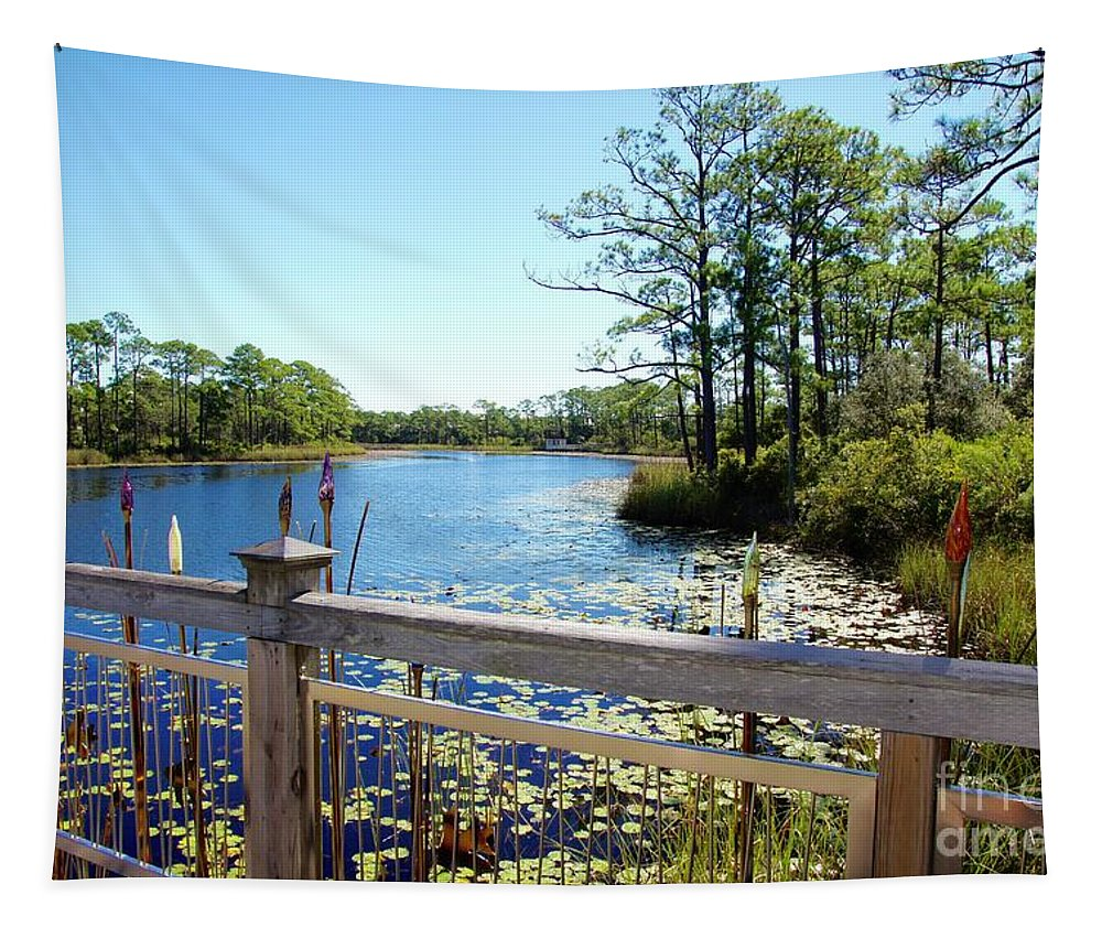 Western Lake Tapestry featuring the photograph Lake View by Megan Cohen