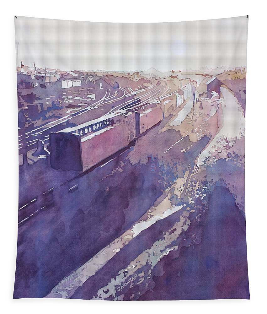 Trains Tapestry featuring the painting Late Afternoon Freight by Jenny Armitage