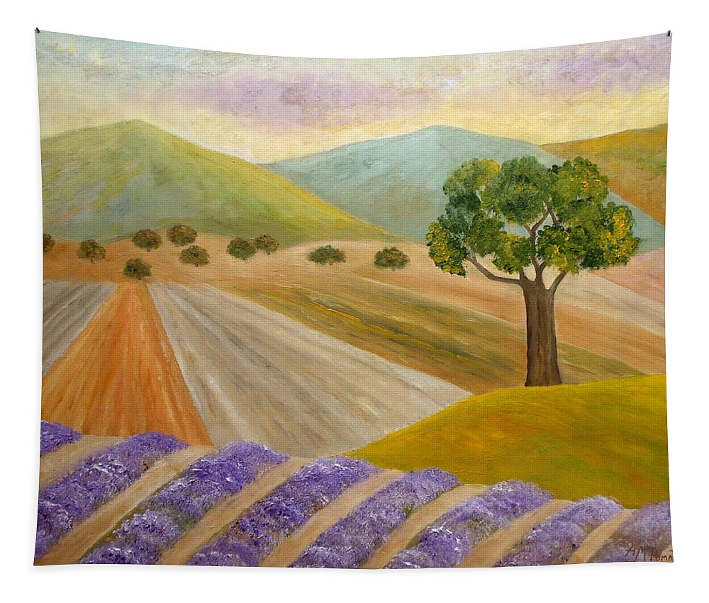 Lavender Tapestry featuring the painting Lavender Sundown by Angeles M Pomata