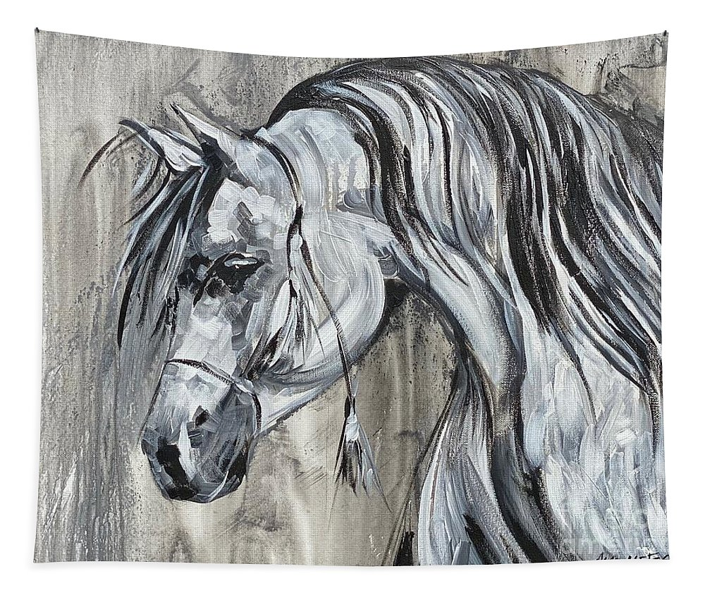 Pony Tapestry featuring the painting Lazy Stallion by Alan Metzger