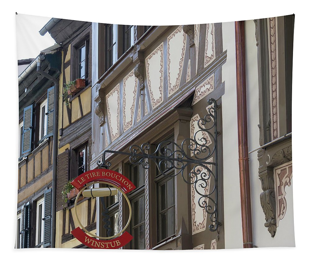 Alsace Tapestry featuring the photograph Le Tire Bouchon Winstub Sign by Teresa Mucha
