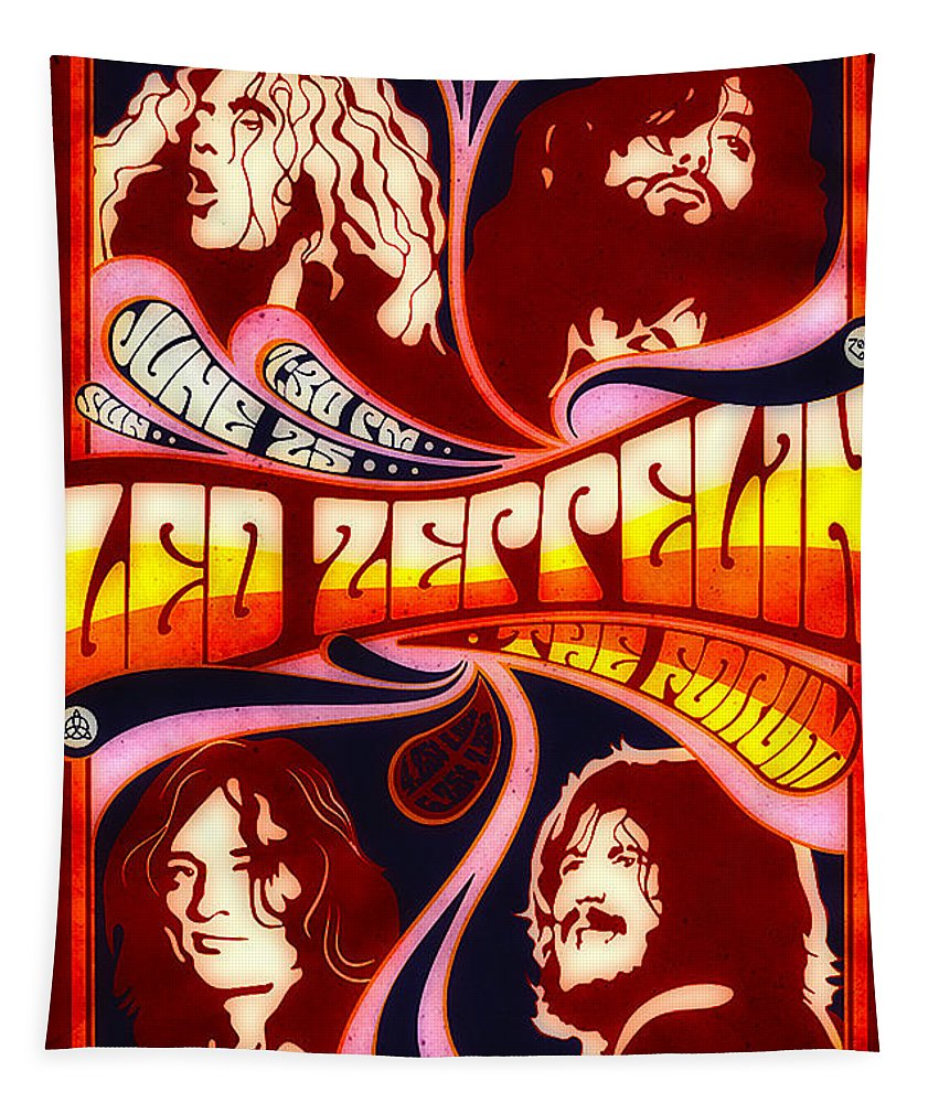Poster Tapestry featuring the digital art Led Zeppelin 72 Tour by Steven Parker