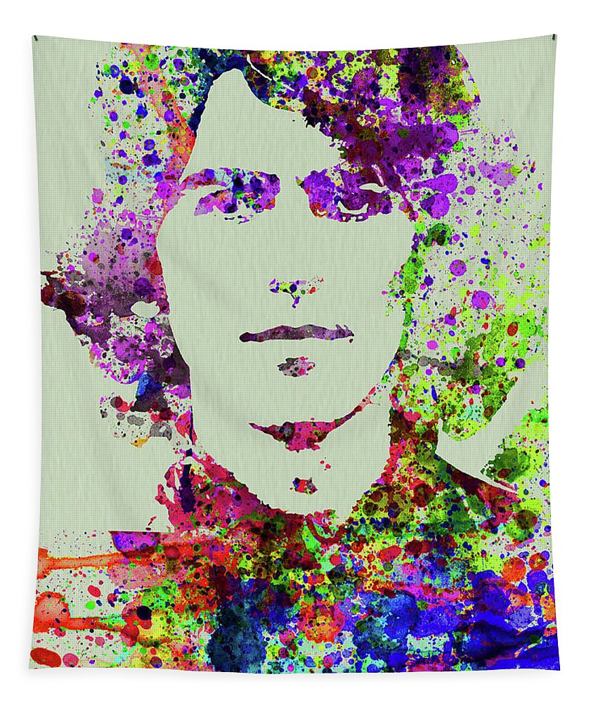 Beatles Tapestry featuring the mixed media Legendary George Harrison Watercolor II by Naxart Studio