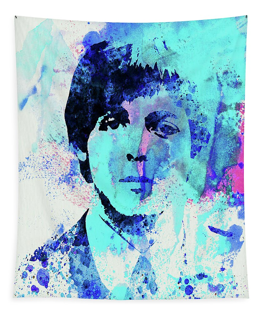 Beatles Tapestry featuring the mixed media Legendary Paul Watercolor by Naxart Studio