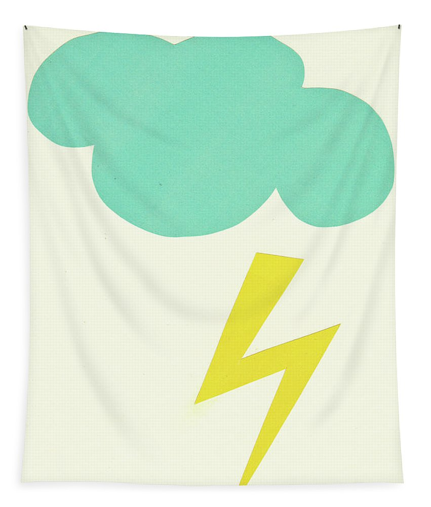 Clouds Tapestry featuring the mixed media Lightning Strike by Cassia Beck