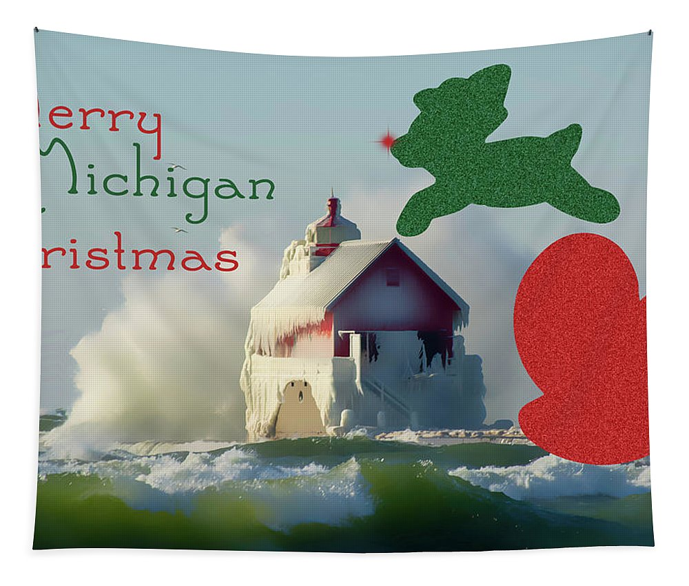 Michigan Tapestry featuring the photograph Lightouse Christmas by Enzwell Designs
