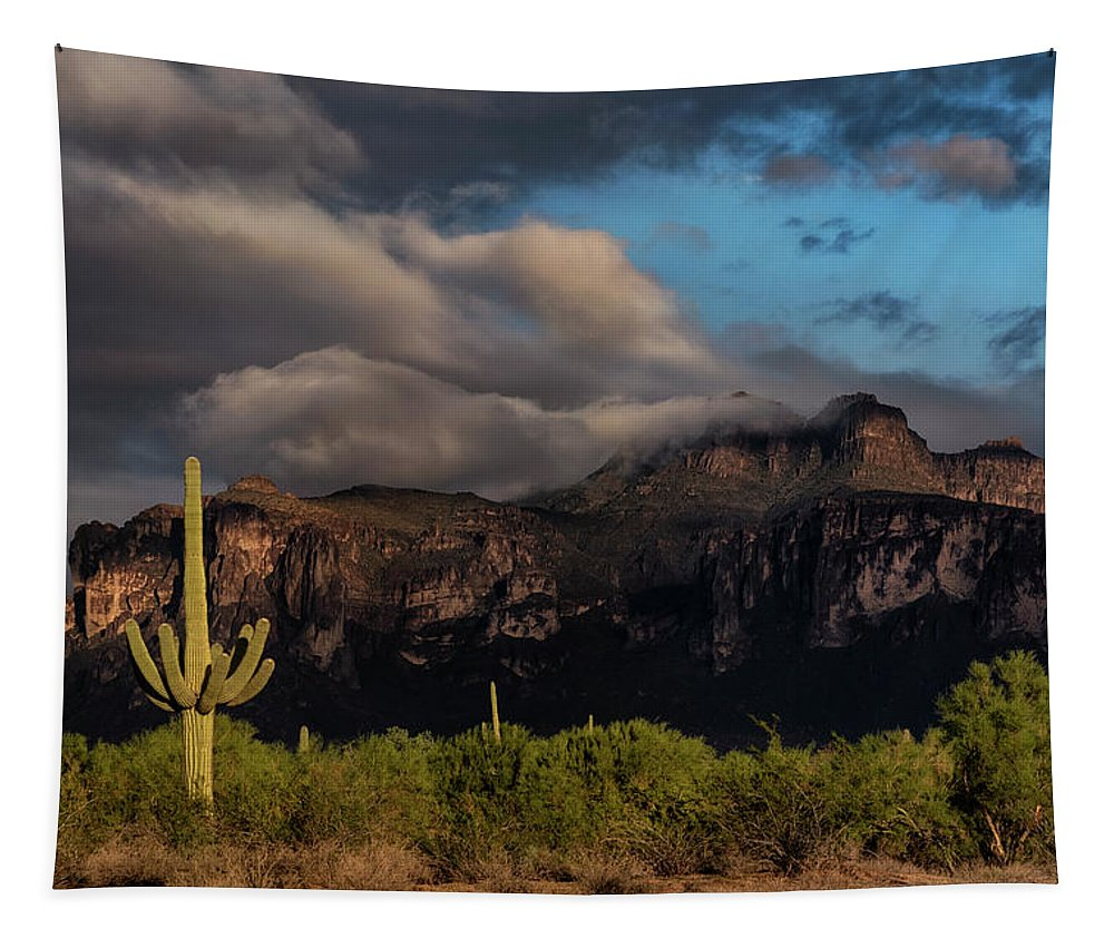 Superstition Mountains Tapestry featuring the photograph Light Play On The Superstitions by Saija Lehtonen