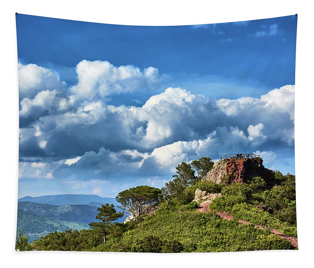 Wall tapestry of landscape in Spain
