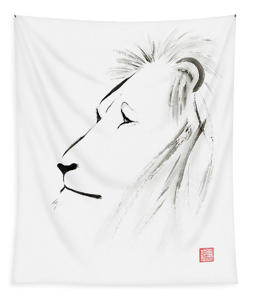 Lion Tapestry featuring the painting Lion Face With A Deep Wise Gaze Japanese Sumi-e Illustration by Awen Fine Art Prints