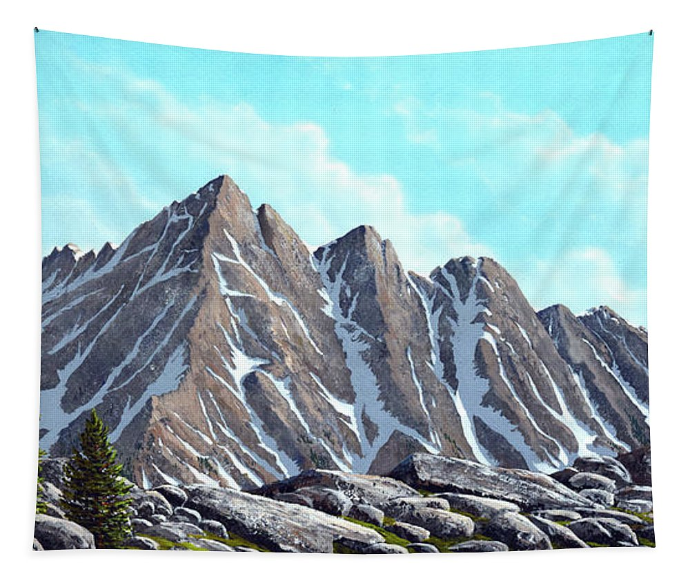 Landscape Tapestry featuring the painting Lofty Peaks by Frank Wilson