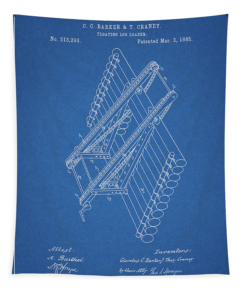 Log Loader Patent Tapestry featuring the drawing Log Loader Patent by Dan Sproul