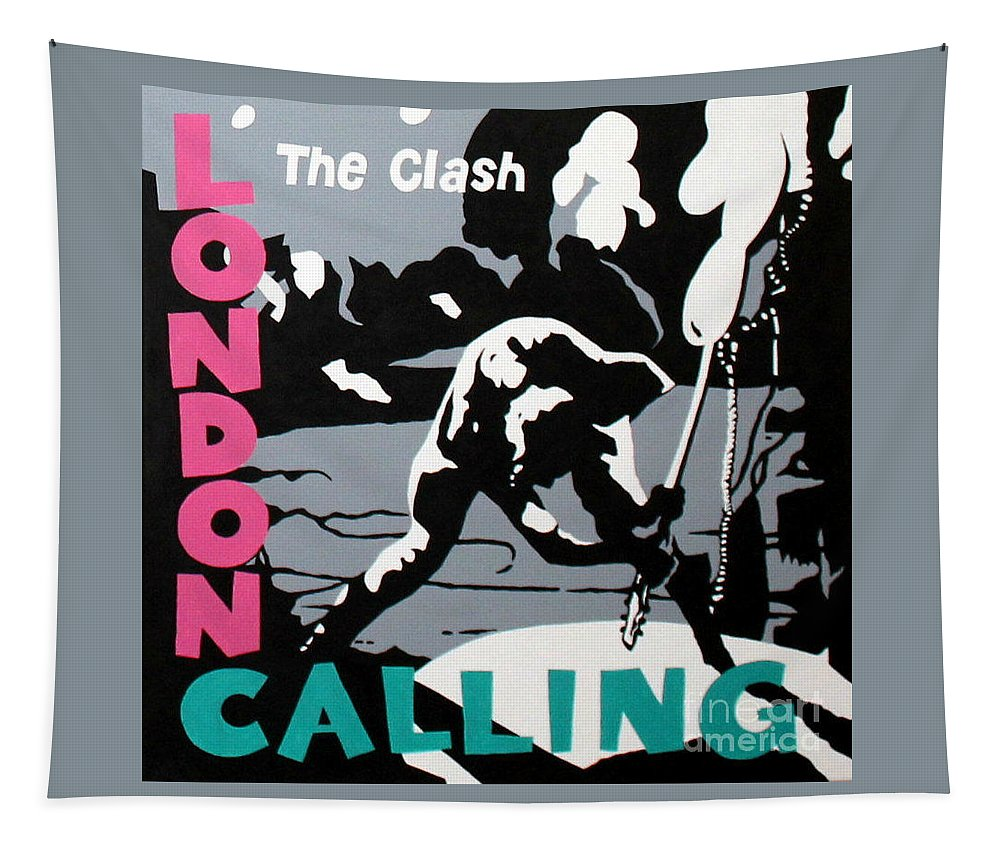 London Calling Tapestry featuring the painting London Calling The Clash by Amy Belonio