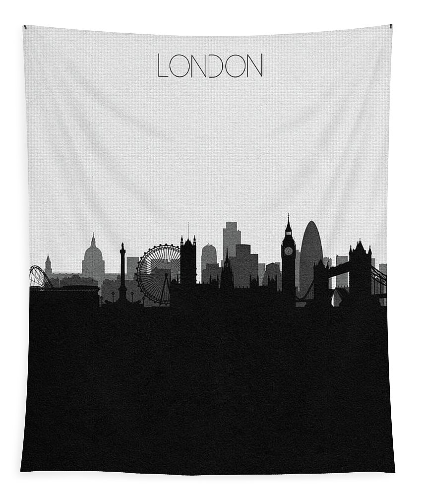 London Tapestry featuring the digital art London Cityscape Art by Inspirowl Design