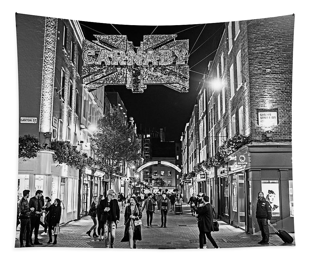 London Tapestry featuring the photograph London Nightlife Carnaby Street London Uk United Kingdom Black And White by Toby McGuire
