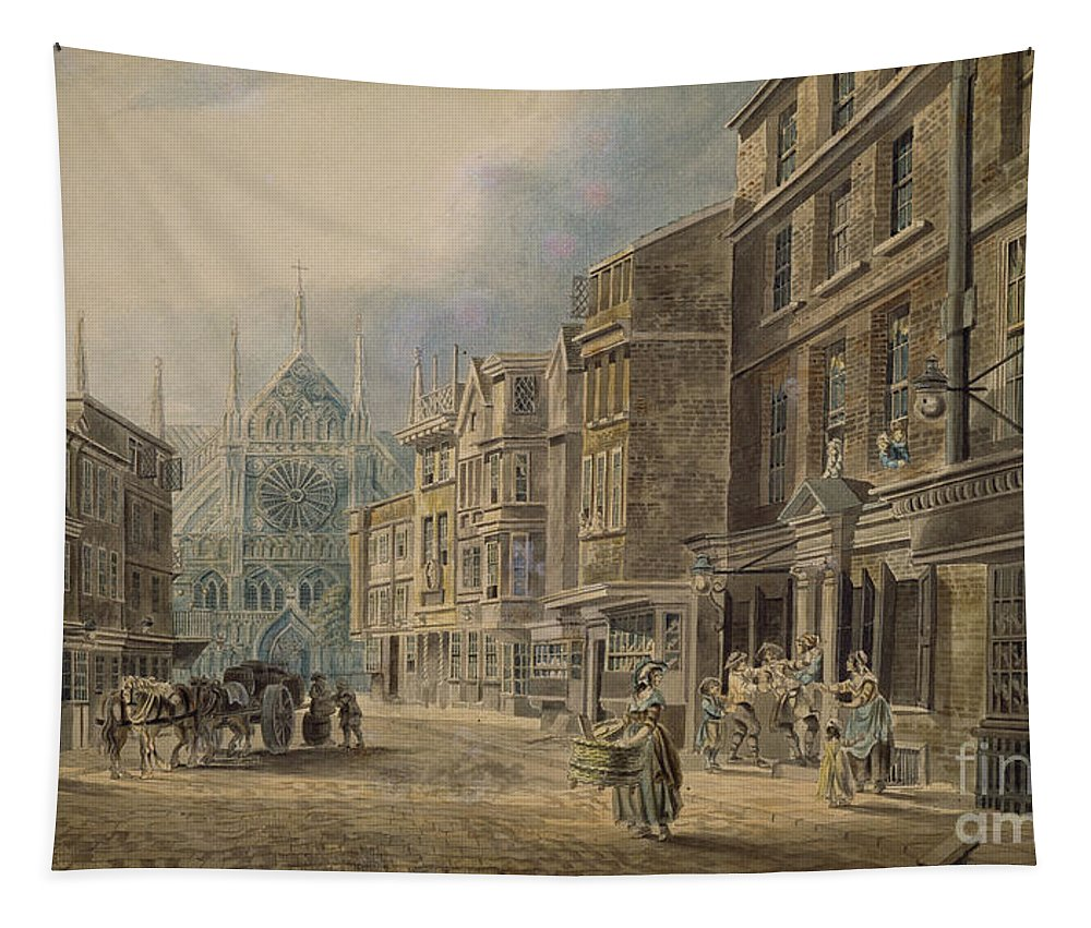 London Tapestry featuring the painting London, Old Tothull St Leading To Westminster Abbey, 1776 by James Miller