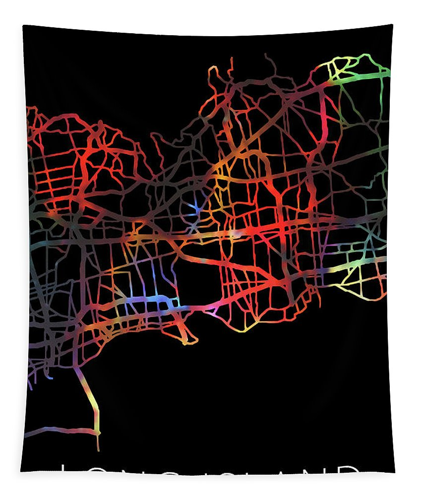 Long Island Tapestry featuring the mixed media Long Island New York Watercolor City Street Map Dark Mode by Design Turnpike