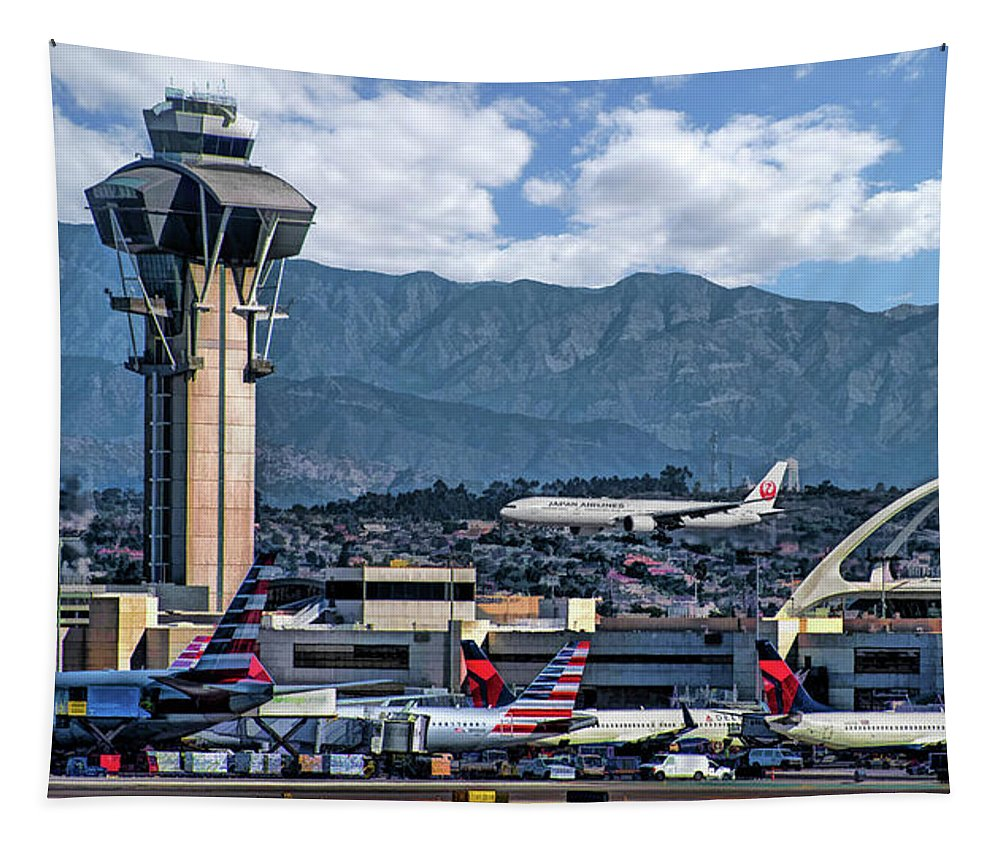 Los Angeles International Airport Tapestry featuring the painting Los Angeles International Airport by Christopher Arndt