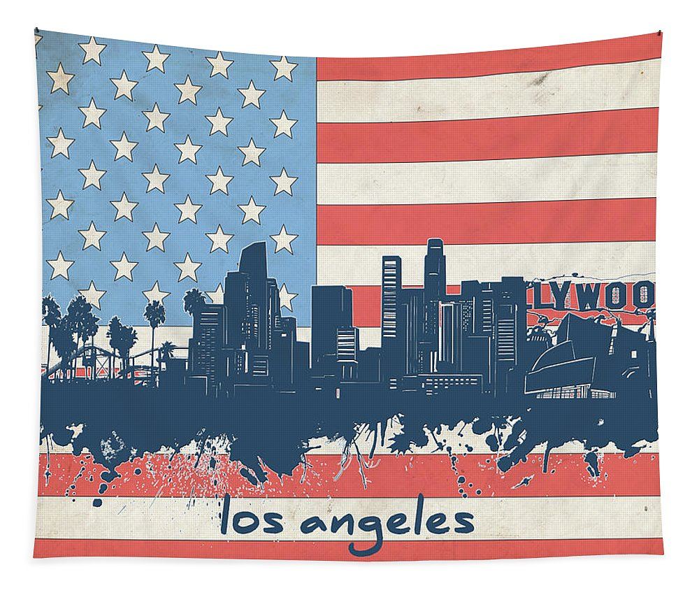 Los Angeles Tapestry featuring the digital art Los Angeles Skyline Flag by Bekim Art