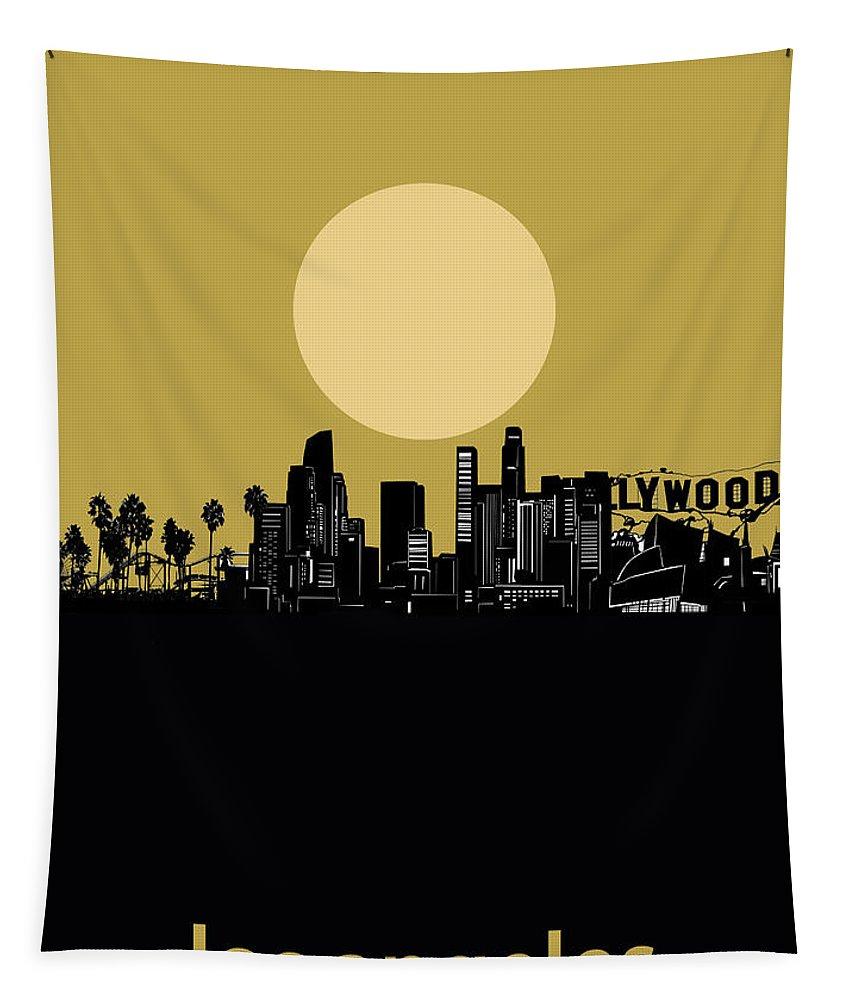 Los Angeles Tapestry featuring the digital art Los Angeles Skyline Minimalism Yellow by Bekim Art