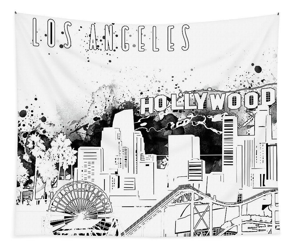 Los Angeles Tapestry featuring the digital art Los Angeles Skyline Panorama White by Bekim Art