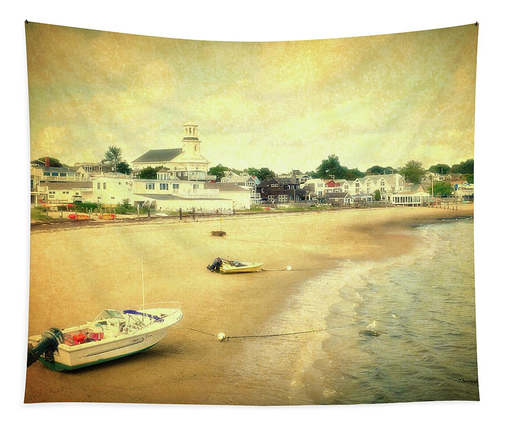 Provincetown Tapestry featuring the mixed media Low Tide Provincetown Cape Cod Massachusetts Shoreline Textured by Thomas Woolworth