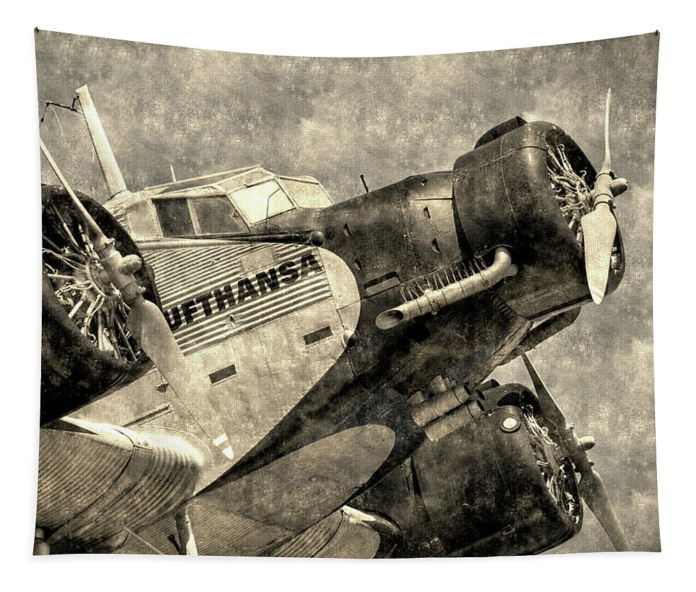 Ww2 Vintage Photo Tapestry featuring the photograph Lufthansa Junkers Ju 52 Vintage by David Pyatt