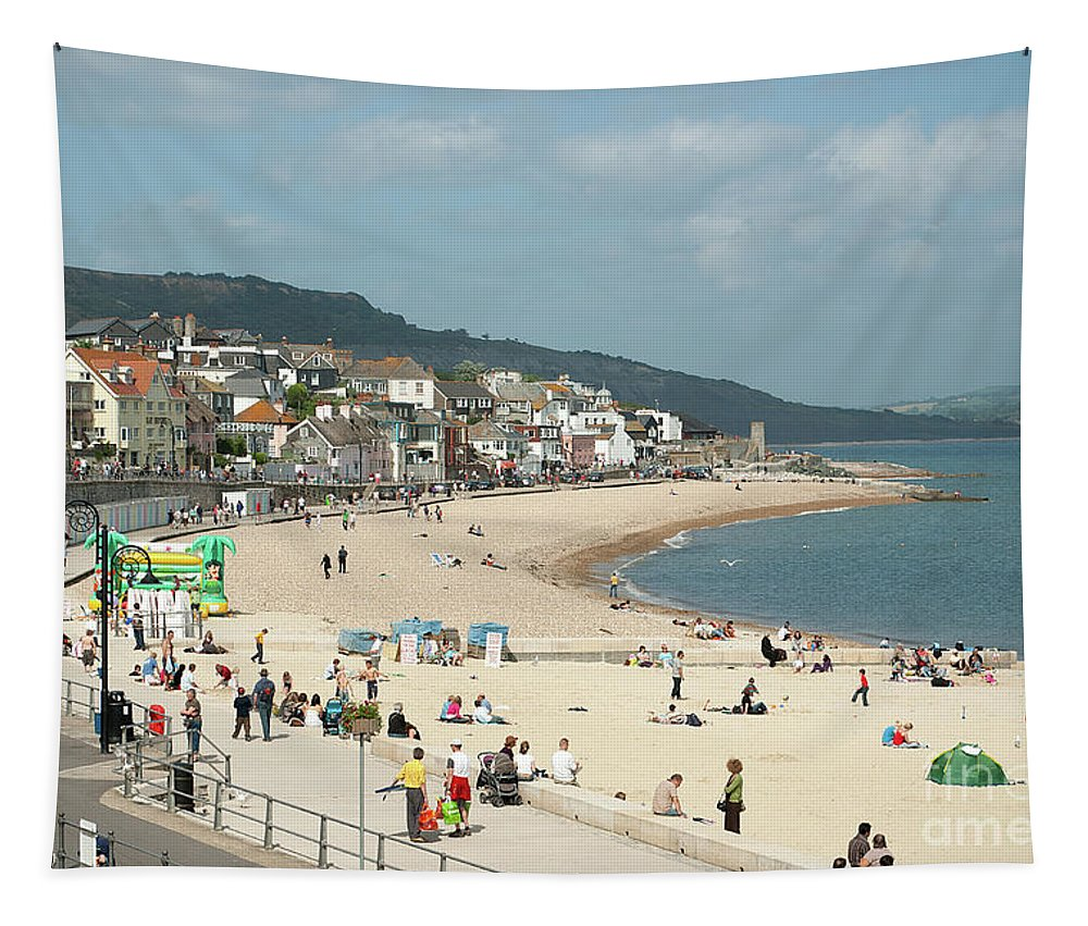 Dorset Tapestry featuring the photograph Lyme Regis Beach by John Edwards