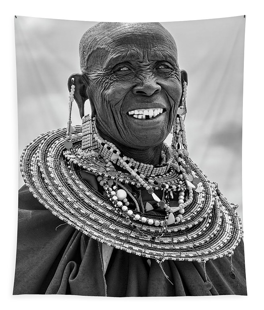 Masai Tapestry featuring the photograph Maasai Woman In Black And White by Kay Brewer
