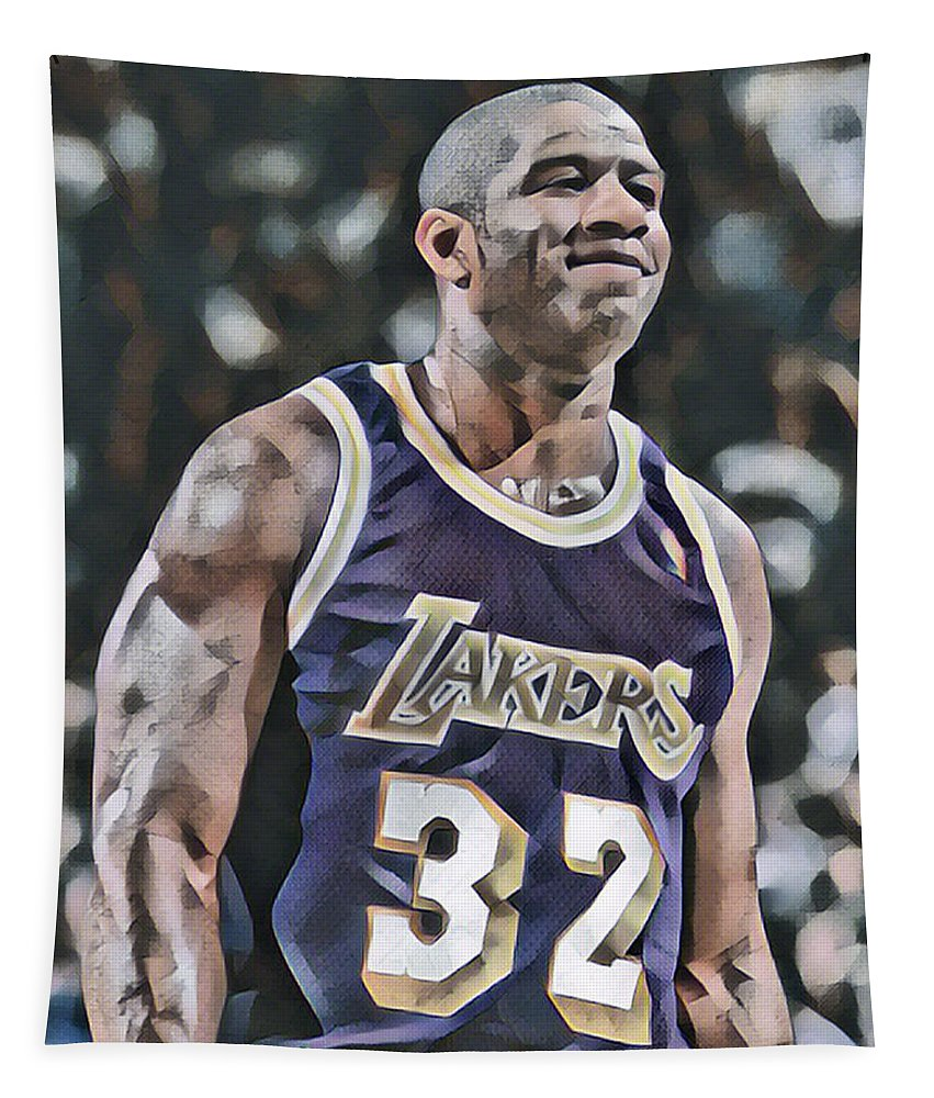 Magic Johnson Tapestry featuring the mixed media Magic Johnson Los Angeles Lakers Abstract Art 2 by Joe Hamilton