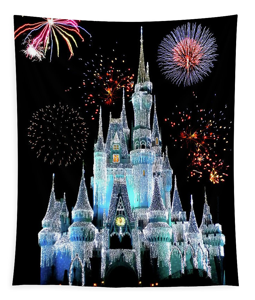 Castle Tapestry featuring the photograph Magic Kingdom Castle In Frosty Light Blue with Fireworks 06 by Thomas Woolworth