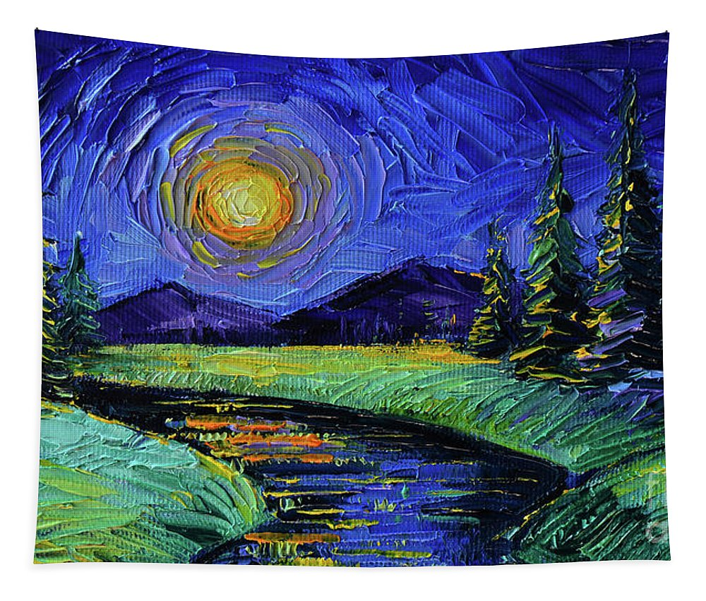 Magic Night Tapestry featuring the painting Magic Night - Detail 1 - Fantasy Landscape by Mona Edulesco